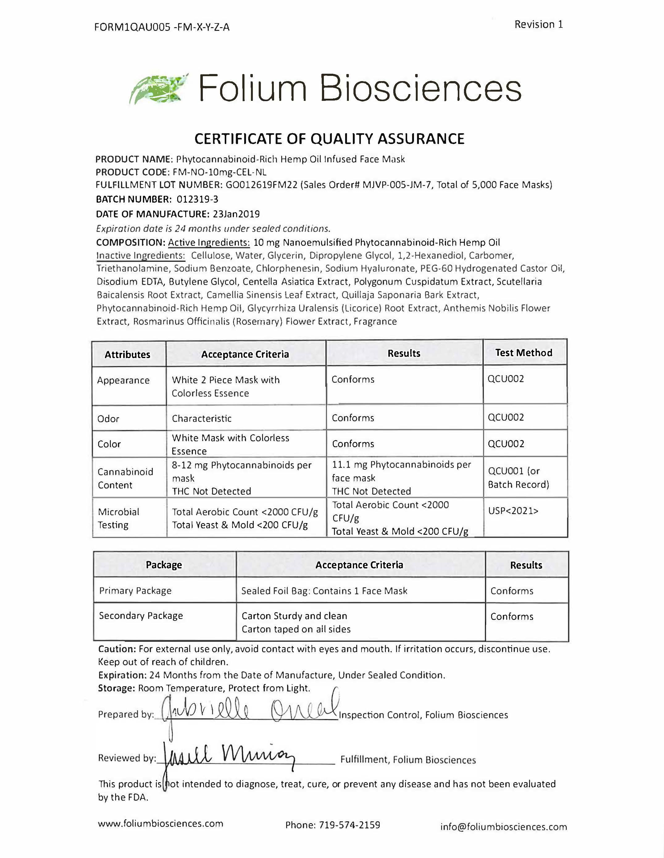 Face Masks Certificate